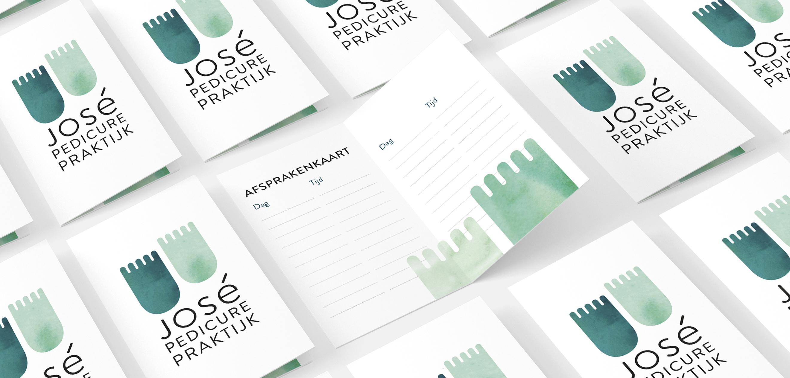 Jose Pedicure Praktijk, Studio Enkelvoud, visitekaartjes, afsprakenkaartjes, business cards, folded, feet, voetjes, logo, pedicure, identity, green, aquarel, groen, voeten, huisstijl, logo, grafisch ontwerp