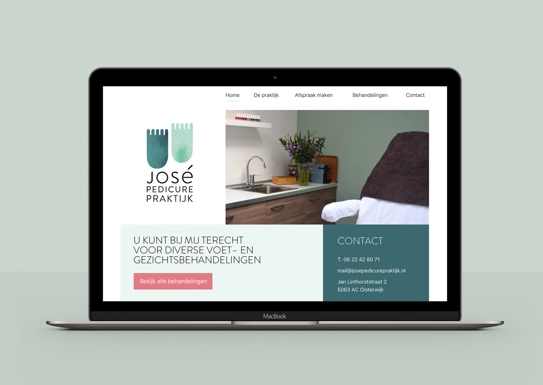 José Pedicurepraktijk, Studio Enkelvoud, website, pedicure, grafisch ontwerp, responsive, web, online, huisstijl, logo, voetjes