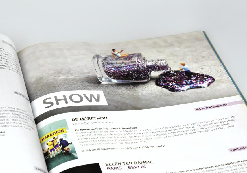 Theater de Veste, Seizoen 17 18, Studio Enkelvoud, seizoensbrochure, show, grafisch ontwerp, fotografie, miniatuur, miniature