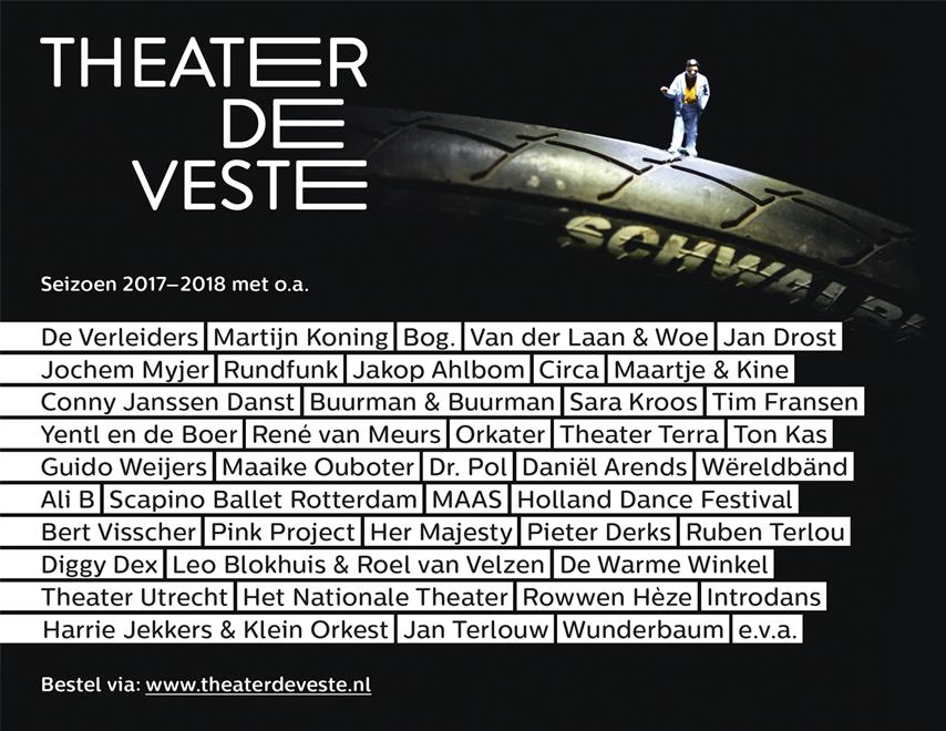 Theater de Veste, spandoek, Studio Enkelvoud, seizoensbrochure, cabaret, grafisch ontwerp, fotografie, miniatuur, miniature