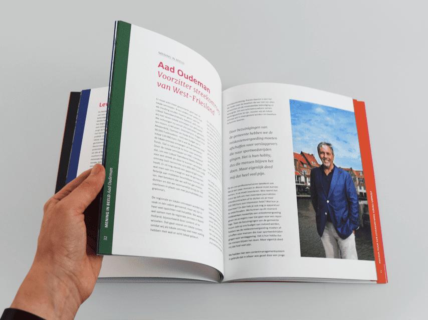 NLPO, nederlandse, lokale, publieke, omroep, drukwerk, grafisch ontwerp, boekontwerp, publicatie, magenta, spread, interview
