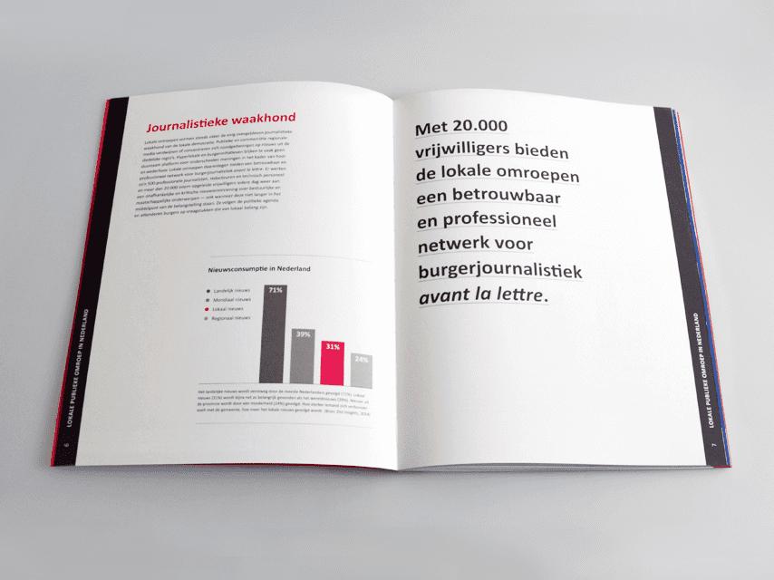 NLPO, nederlandse, lokale, publieke, omroep, drukwerk, grafisch ontwerp, boekontwerp, publicatie, magenta, spread
