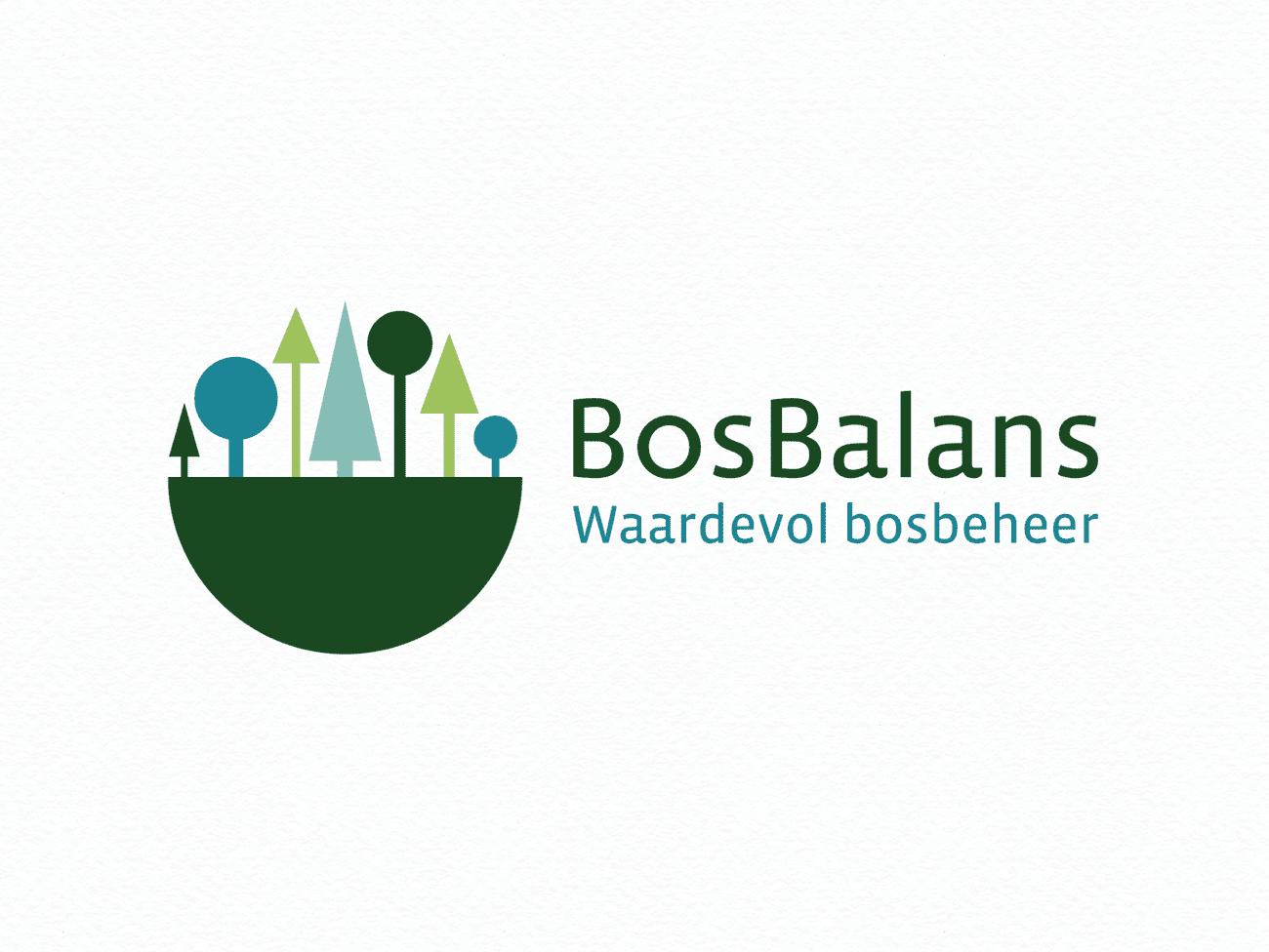 Bosbalans, identiteit, huisstijl, logo, visitekaartje, balans, bossen, groen, blauw, t-shirt, logo