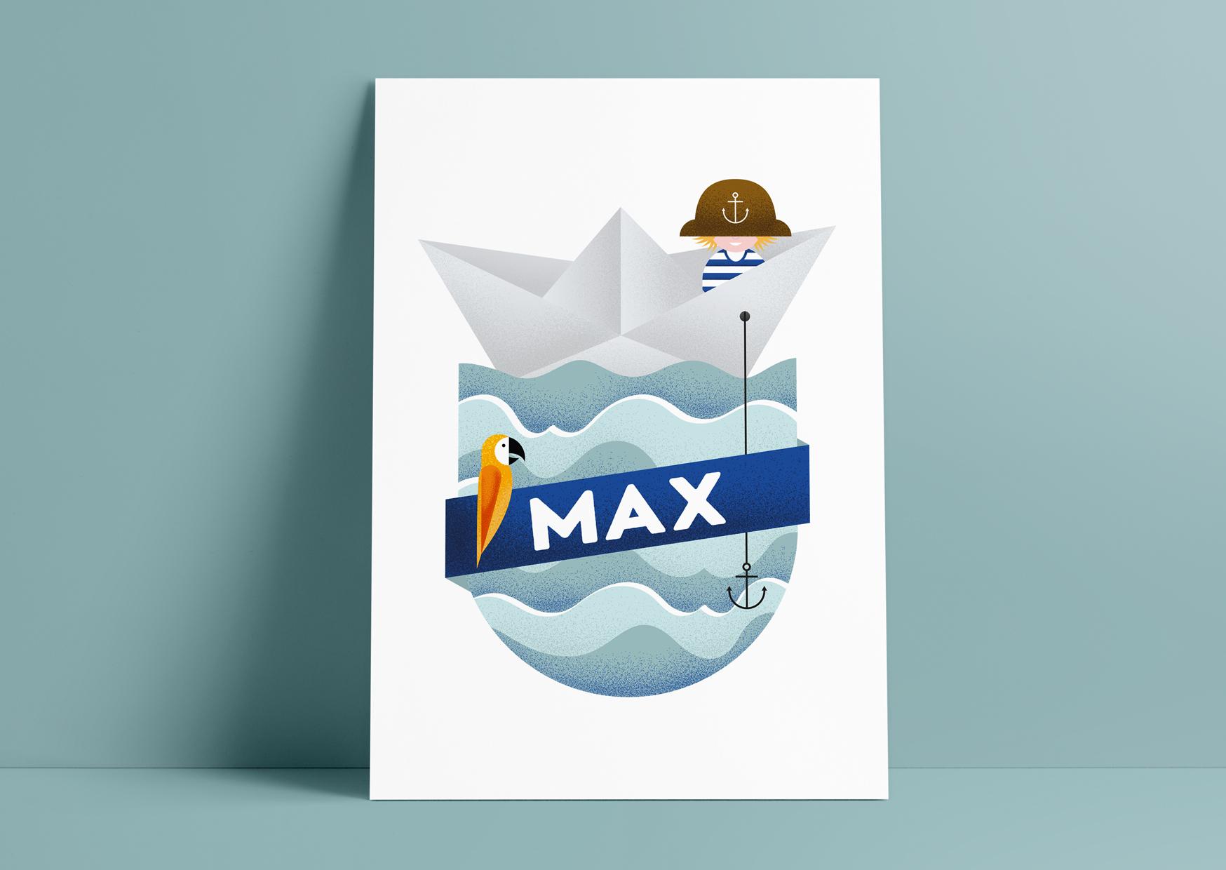 Geboortekaartje, jongens, baby, birth announcement, illustratie, illustration, boot, piraten, papagaai, papierenboot, stoer, water, studio enkelvoud, jongen
