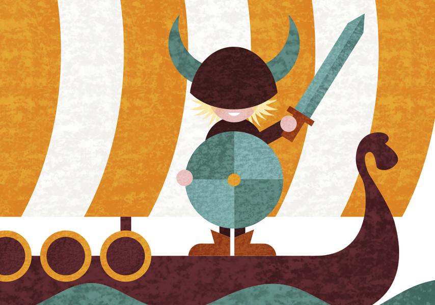 Geboortekaartje, Ivar, Viking, Boot, Water, Jongen, Baby, Boy, Birth, card, Geel, Yellow, Blue, Vicky, stoer, illustratie, illustration, wereld, persoonlijk
