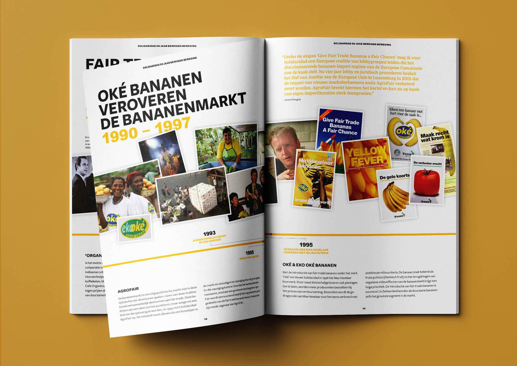 magazine, jubileum, solidaridad, goud, tijdlijn, 50 jaar, belangenorganisatie, editorial, grafisch ontwerp, graphic design, oké bananen