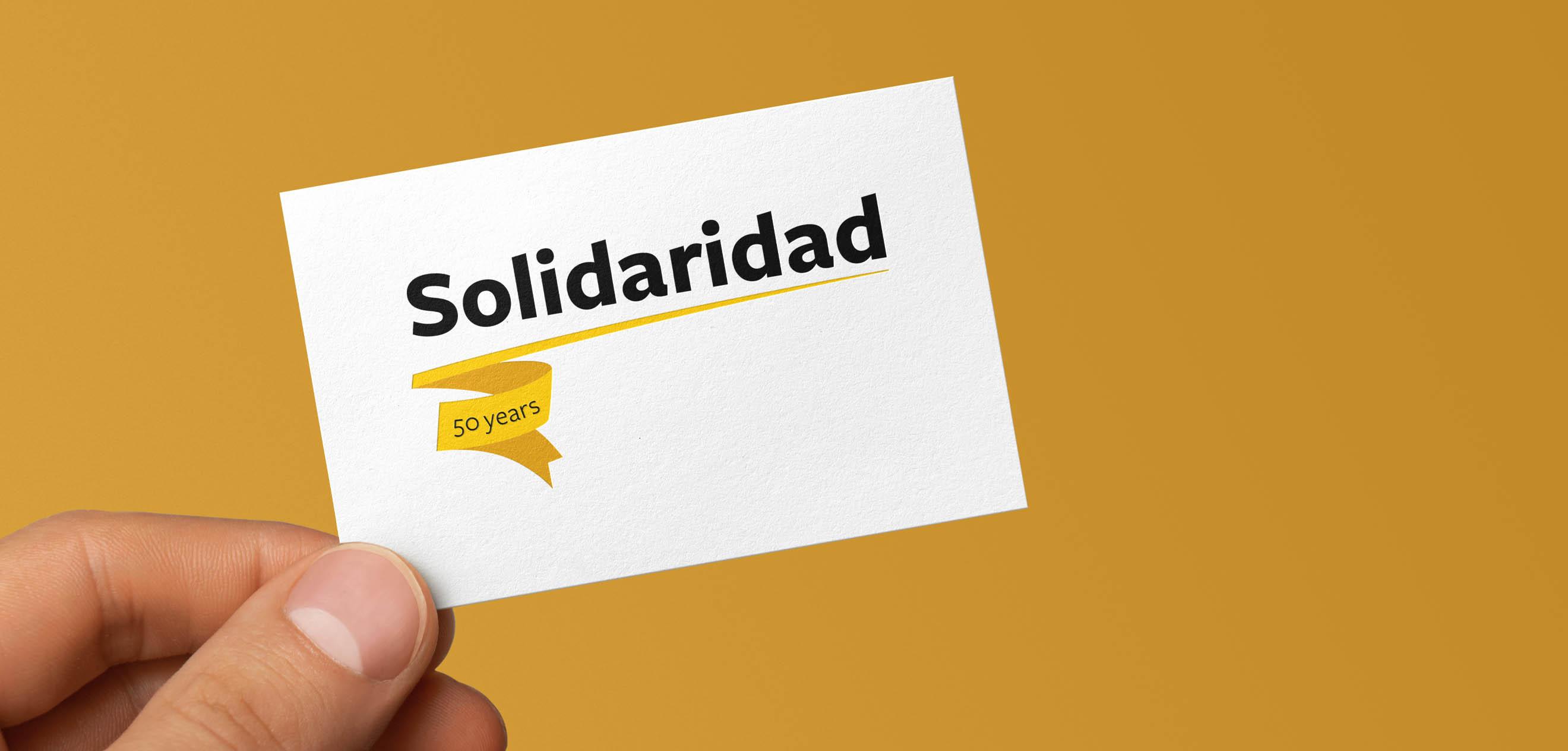 Solidaridad, jubileumlogo, logo, jubileum, 50 years, 50 jaar, animatie, gif, feest, goud, gouden, visitekaartje, business card